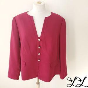 Tahari Arthur S. Levine Jacket Blazer Dark Pink